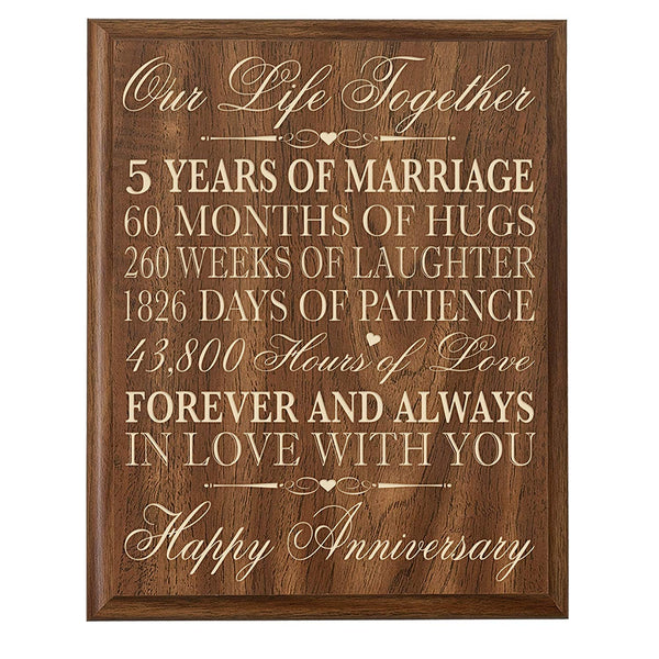 5th Wedding Anniversary Wall Plaque Gift