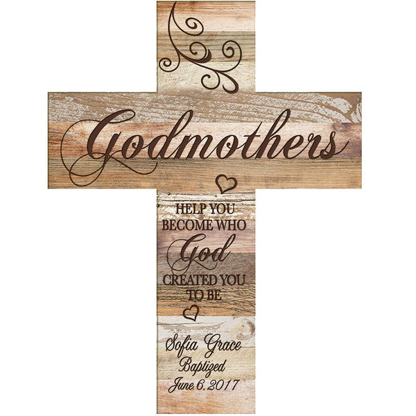 Personalized Godmother Decorative Wall Cross Gifts Help You Become Dark Distressed