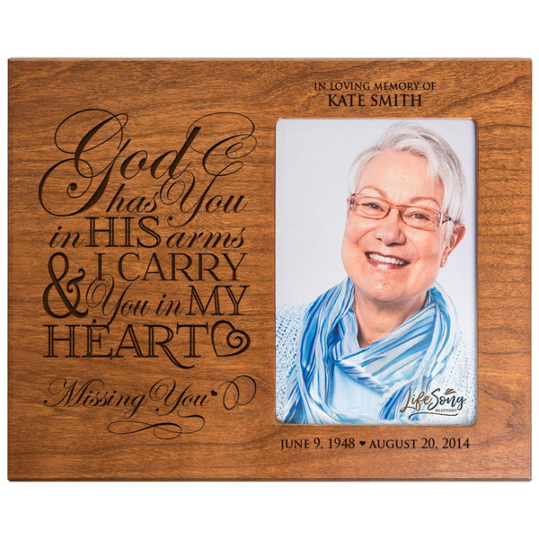 LifeSong Milestones Personalized Memorial Sympathy Picture Frame, God Has You In His Arms & I Carry You In My Heart, Custom Frame Holds 4x6 Photo, Made In USA by