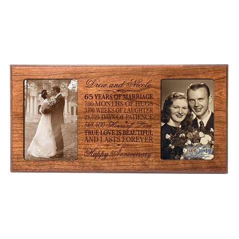Personalized 65th Anniversary Double Photo Frame - Happy Anniversary Cherry