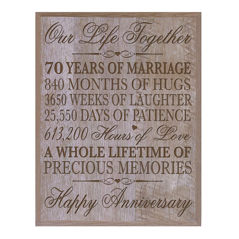 "70th Wedding Anniversary Wall Plaque Gifts for Couple parents, 70th Anniversary Gifts for Her,him 70th Wedding Anniversary Gifts for Him 12"" W X 15"" H Wall Plaque"