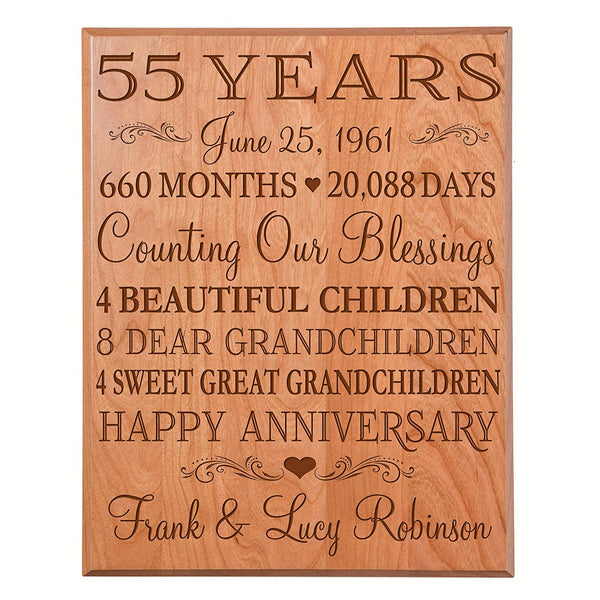 55th Wedding Anniversary Wall Plaque (Cherry Solid Wood)