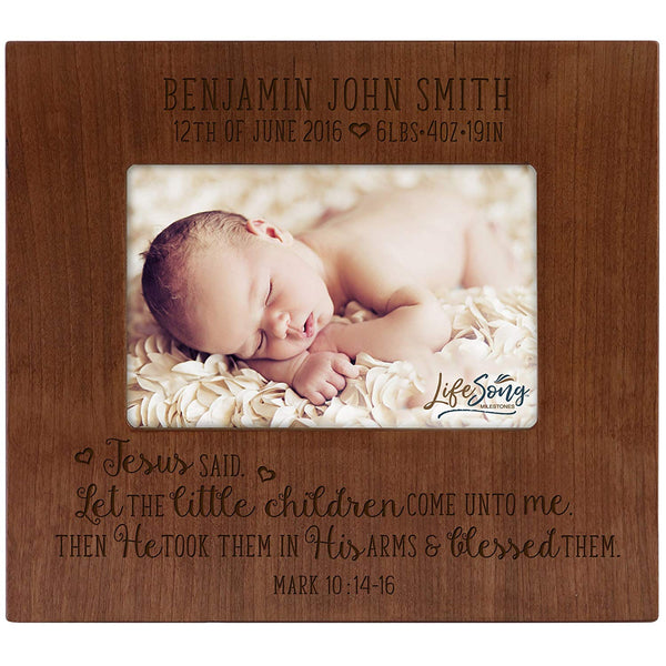 Personalized Baby Announcement Photo Frame - Jesus Said