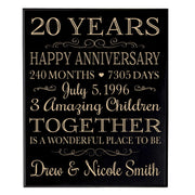 Personalized 20th Anniversary Wall Plaque - Together Is A Wonderful Place Black Veneer