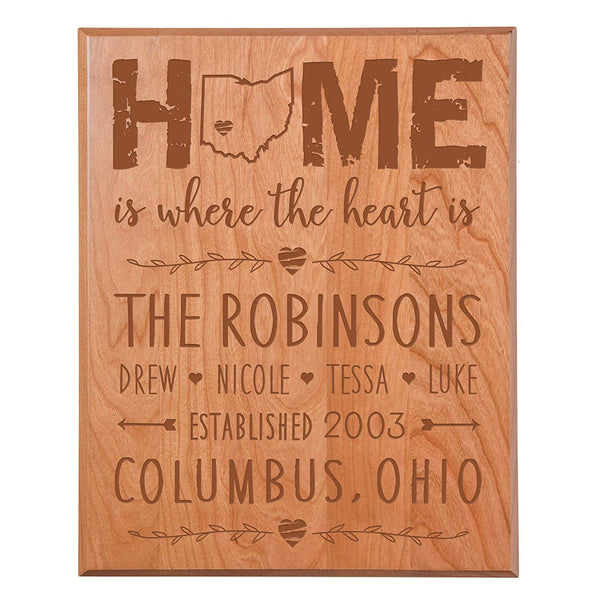 "Personalized Modern Cherry Solid Plaque Home is where the heart is Family Established with Last Name, First Names and Date Established by LifeSong Milestones 12"" x 15"""