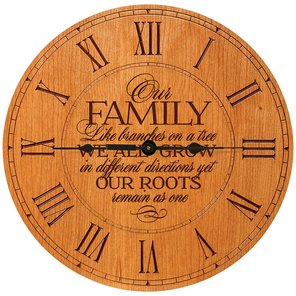 "Wedding Gifts for parents Modern Decorative Wall Clocks Housewarming Anniversary Gift for Couple Our Family Like Branches on a tree 12""x12"" By LifeSong Milestones"