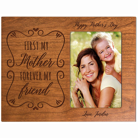Personalized Happy Mother's Day Photo Frame - First My Mother Cherry