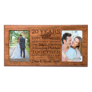 Personalized 20th Year Anniversary Double Photo Frame Cherry