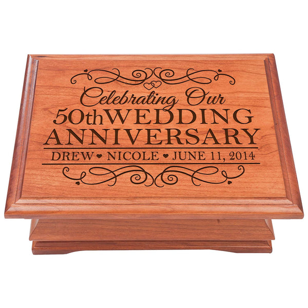 Personalized 50th Wedding Anniversary Wooden Jewelry Box