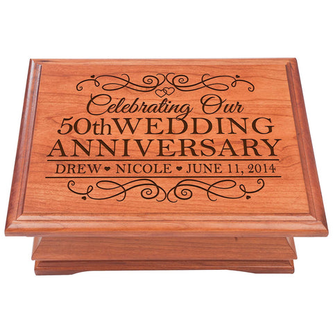 50th Wedding Anniversary Jewelry organizer chest, Personalized Parent Wedding Keepsake Box, Gift for Her
