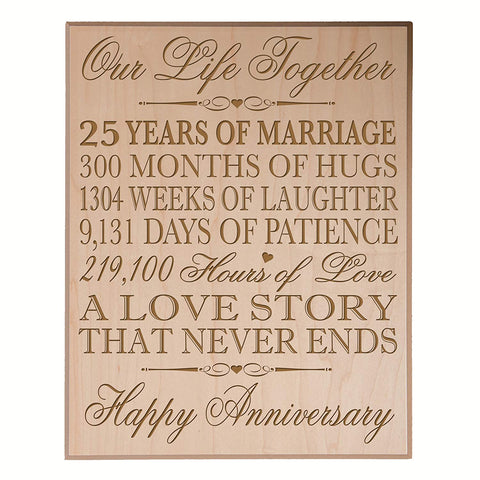 "25th Wedding Anniversary Wall Plaque Gifts for Couple, 25th Anniversary Gifts for Her, Gifts for Him 10.75"" W X 13"" H Wall Plaque By LifeSong Milestones"