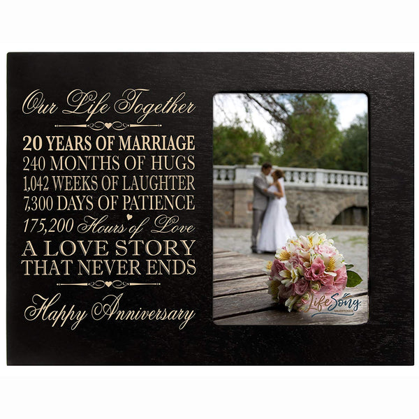 "20 Year Anniversary gift for her him couple Custom Engraved 20th year wedding anniversary celebration gift frame holds 4x6 photo frame size 10"" w x 8"" h x 1/2"""