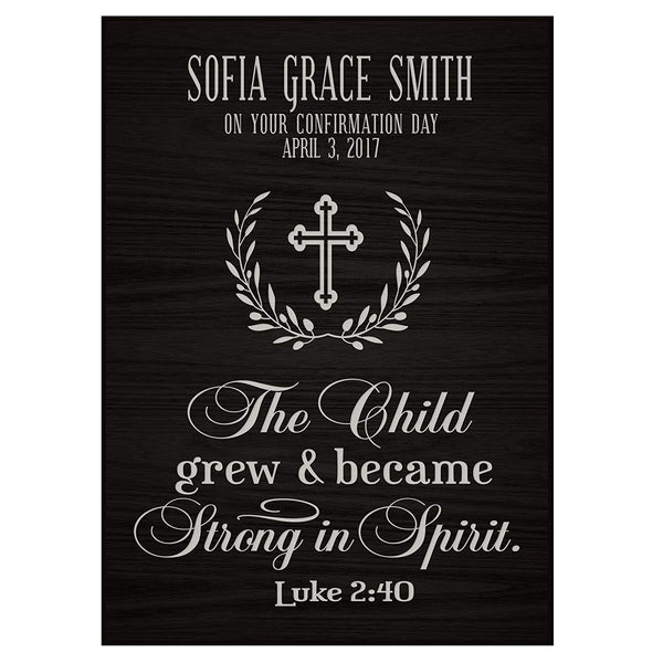 Personalized Baptism 1st Holy Communion Christening Gifts Custom Wall plaque baby dedication Decoration May The Child Grew and Became Strong In Spirit Luke 2:40 By LifeSong Milestones