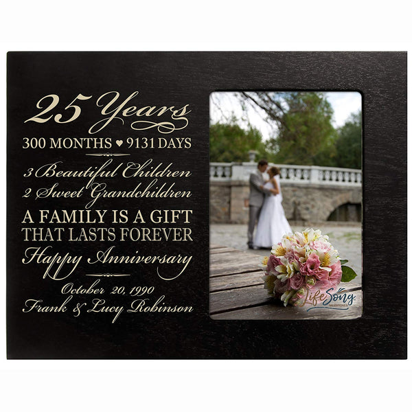 Personalized Twenty Five year anniversary gift for her him couple Custom Engraved wedding gift for husband wife girlfriend boyfriend photo frame holds 4x6 photo by LifeSong Milestones