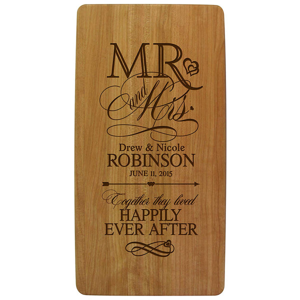 "Personalized Mr & Mrs Wedding Anniversary Gifts Solid Cherry Wood Cutting Cheese Boards Customized with Your First and Last Names and Year Family Established 11.75"" L X 6"" W X .75"