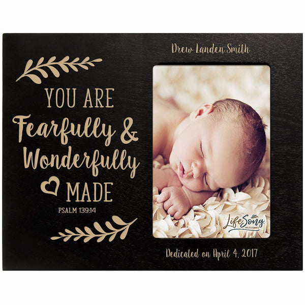 Personalized Baptized Photo Frame - Fearfully & Wonderfully black