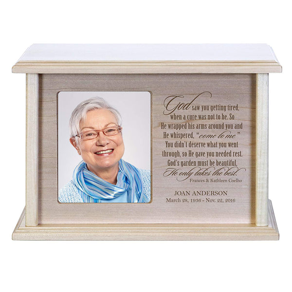 Memorial Cremation Urns for Human Ashes -Holds 4x6 Photo- God Saw You