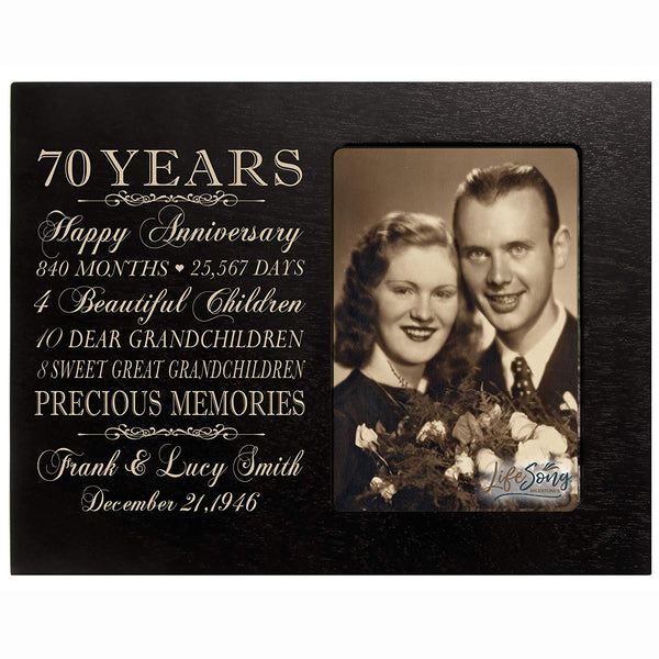 Personalized Seventieth year anniversary gift for her him couple Custom Engraved wedding gift for husband wife girlfriend boyfriend photo frame holds 4x6 photo by LifeSong Milestones
