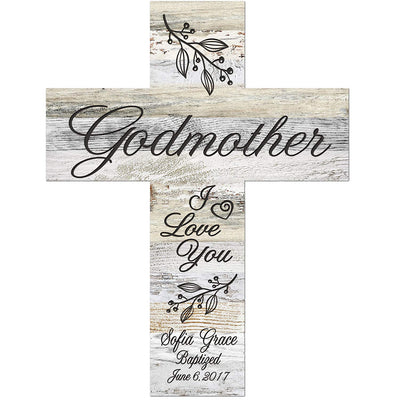 Personalized Godmother Light Distressed Wall Cross - I Love You