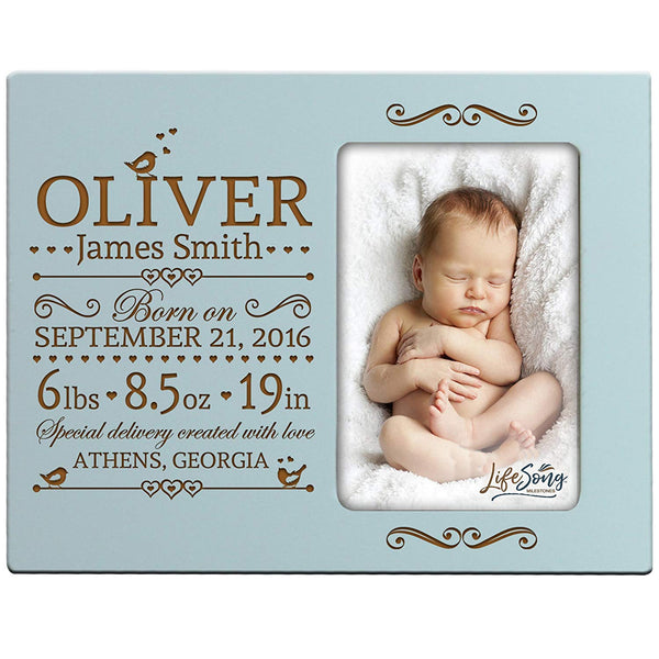 Personalized New Baby Photo Frame - Special Delivery Made With Love Blue