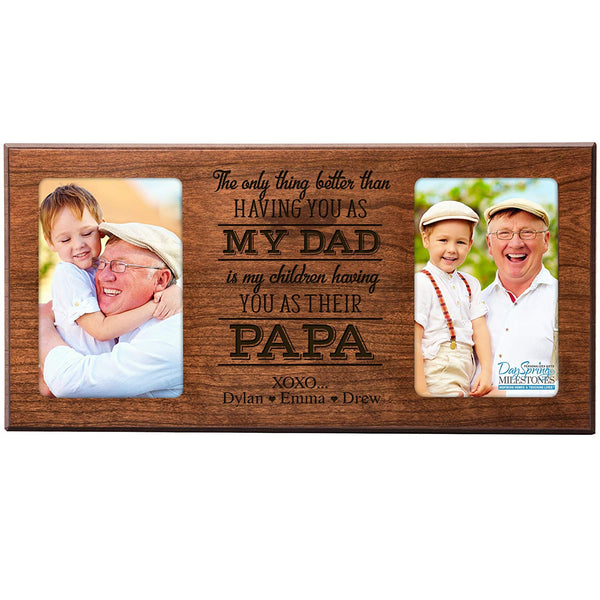 Personalized Gifts for Dad Fathers day gift Custom picture frame The only thing better than having you as my dad holds 2 4x6 photos