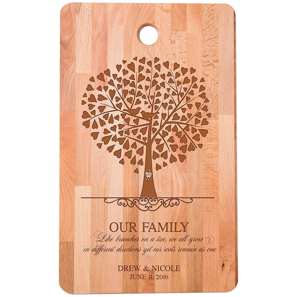 "Personalized bamboo Cutting Board reads Like branches we grow different directions for bride and groom Wedding Anniversary Gift Ideas for Him, Her, Couples Established Dates to Remember 11""w x 18""h"
