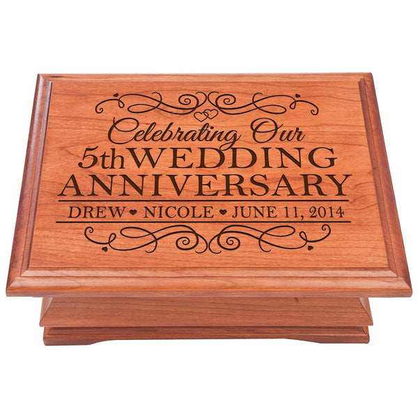 5th Wedding Anniversary Wooden Jewelry Box, Personalized 5 year Parent Wedding Keepsake chest, Gift ideas for couple