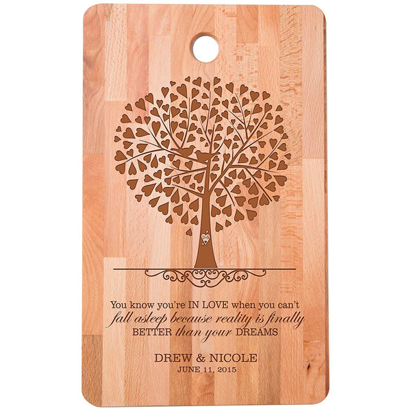 "Personalized bamboo Cutting Board reads You know you're in love when for bride and groom Wedding Anniversary Gift Ideas for Him, Her, Couples Established Dates to Remember 11""w x 18""h"