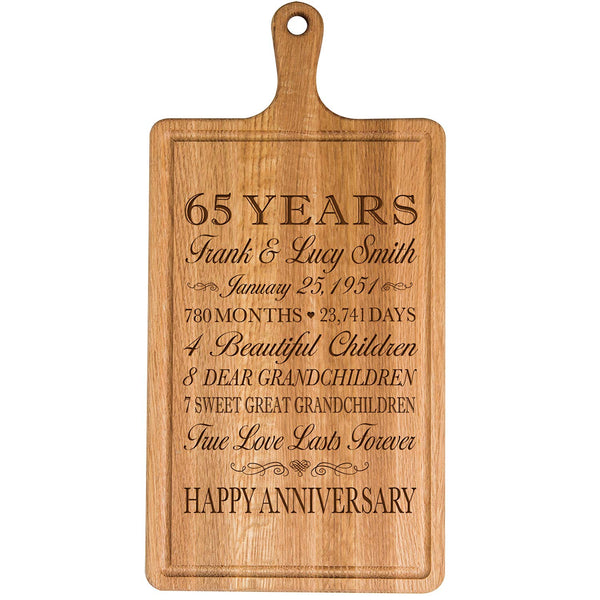 Personalized 65th Year Anniversary Gift for Him Her wife husband Couple Cheese Cutting Board Customized with Year Established dates to remember for Wedding Gift ideas by LifeSong Milestones