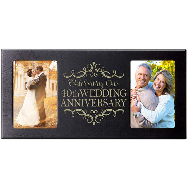 LifeSong Milestones 40th Anniversary Parent Wedding Gift, 40 Year Wedding Anniversary Picture Frame Celebrating Our 40th Anniversary Holds 2- 4x6 Photos 8 Inches High X 16 Inches Long