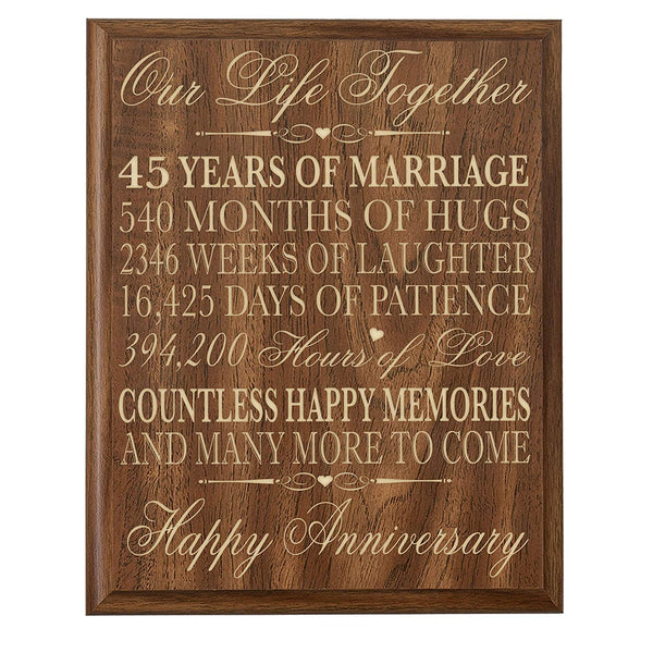 Parents 45th Wedding Anniversary Wall Plaque Gifts for Couple,45th Anniversary Gifts for Her,45th Wedding Anniversary Gifts for Him Special Dates to Remember By LifeSong Milestones (Walnut)