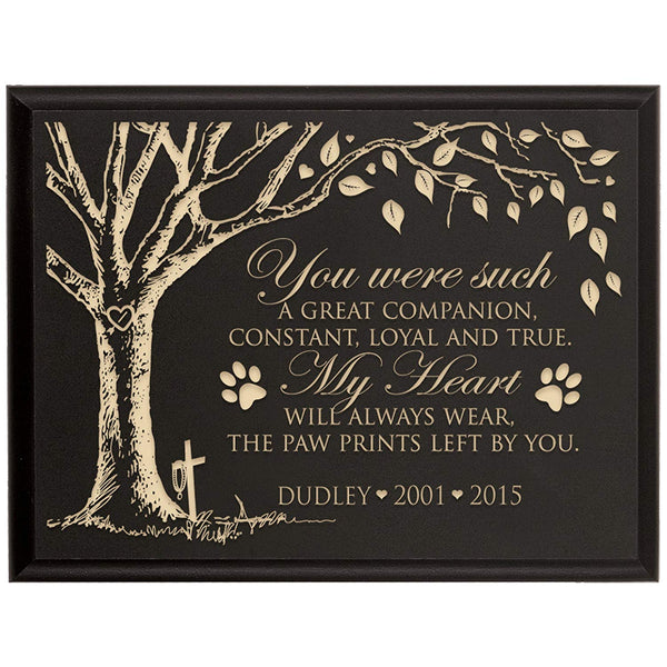 Personalized Pet Memorial Gift, Sympathy Wall Plaque, You Were Such a Good Companion Constant Loyal and True, Custom Engraved Plaque measures 6x8 by LifeSong Milestones USA Made