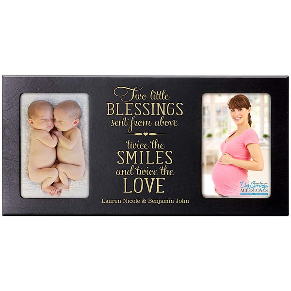 Personalized Newborn Twin Double Photo Frame - Two Little Blessings