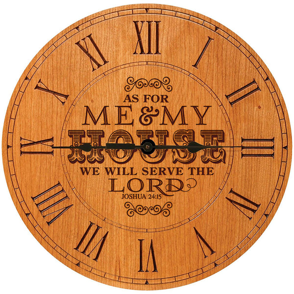 "Wedding Gifts for parents Modern Decorative Wall Clocks Housewarming Anniversary Gift for Couple As for me and my House We will serve the Lord 12""x12"" By LifeSong Milestones (Cherry Roman)"