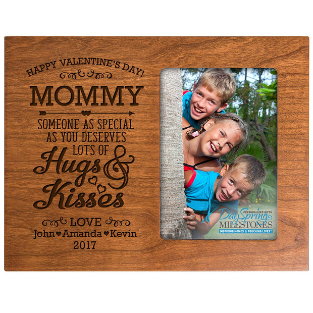 mommy hugs & kisses valentine's day photo frame picture cherry