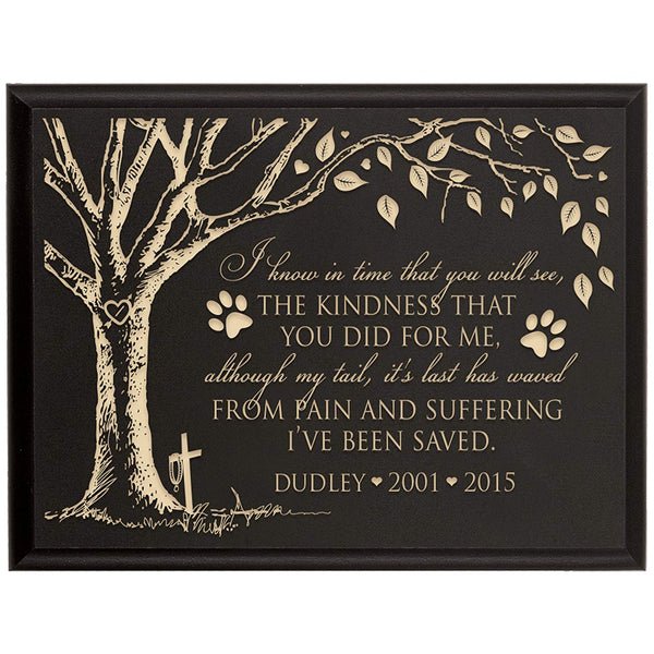 Personalized Pet Memorial Gift, Sympathy Wall Plaque, I Know In Time That You Will See The Kindness That You Did For Me, Custom Engraved Plaque measures 6x8 by LifeSong Milestones USA Made