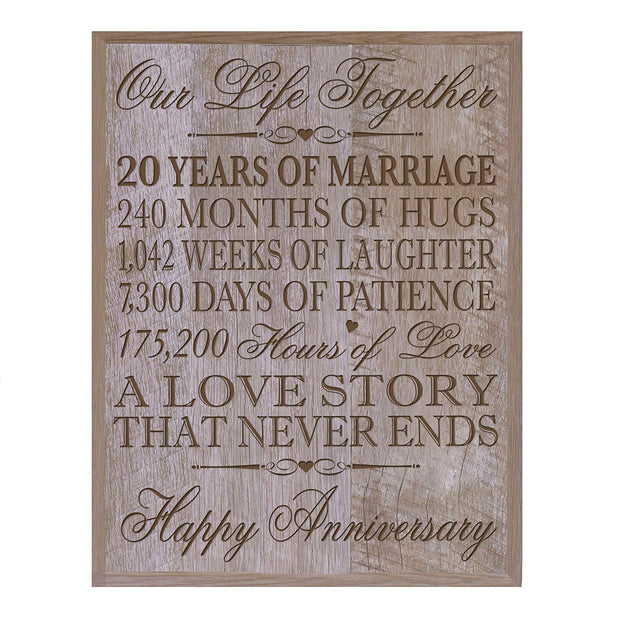 twenty year gift twentieth year 20th for couple wall plaque wall decor barnwood