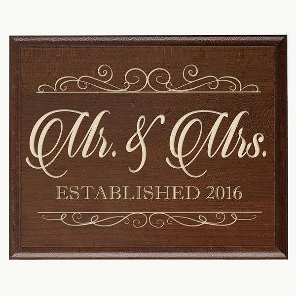 LifeSong Milestones Mr & Mrs Wedding Sign Gift with Family Name and Family Established Year By (Black)
