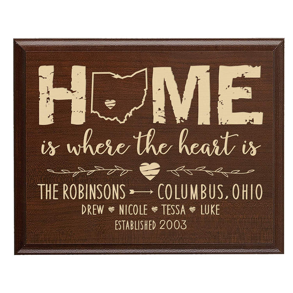 Personalized State Home Is Where The Heart Is Wall Plaque (Cherry)