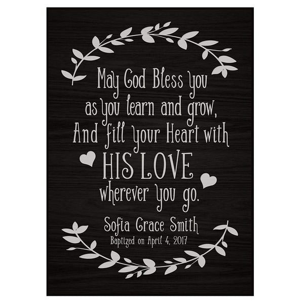 Personalized Baptism Wall Plaque - May God Bless You black