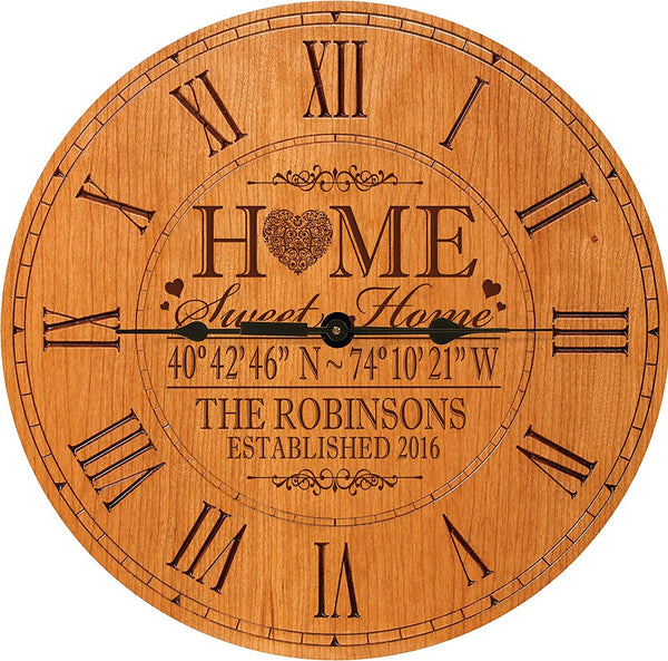 "Personalized Home Coordinates Latitude Longitude Decorative Wall clock with Family last Name and Date Established Home Sweet Home 12"" by LifeSong Milestones"