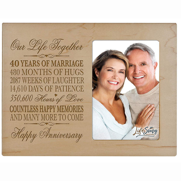 40th Anniversary Photo Frame - Our Life Together Maple