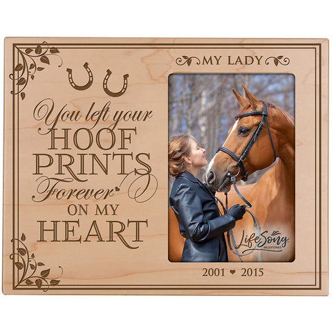 Custom Wooden Memorial 8x10 Picture Frame for Pet holds 4x6 photo You Left Your Hoof Prints
