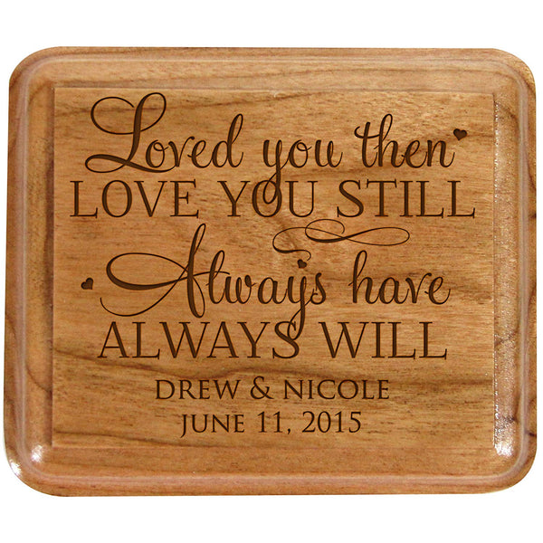 Personalized Double Cherry Wooden Wedding Ring Box for Ceremony,Custom Engagement Ring Box holder Loved you then Love you still Always have Always will