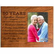 Personalized 50th Anniversary Photo Frame - Together Forever Cherry