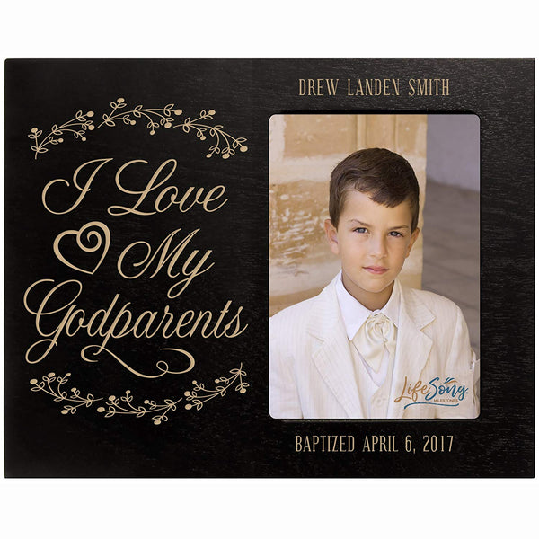 Personalized Godparent Gifts Custom engraved Godparents gifts from Godchild I love my Godparents Baptism Confirmation Photo Frame holds 4x6 photo by LifeSong Milestones