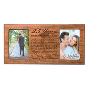 Personalized 25th Year Anniversary Double Photo Frame Cherry