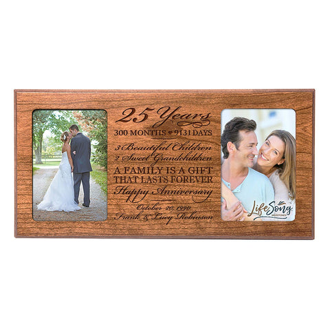 Personalized 25th Year Anniversary Double Photo Frame