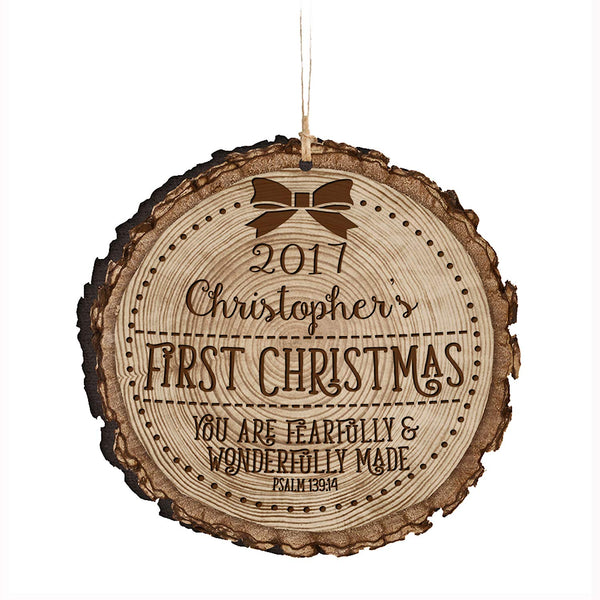 "Personalized Baby's First Christmas Ornament New Parent gift ideas for newborn boys and girls Custom engraved ornament for mom dad and grandparents 3.75"" (You are fearfully and wonderfully made)"