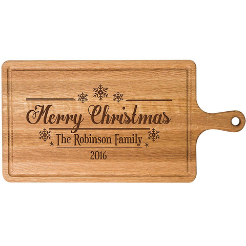 Personalized Christmas Cherry Cutting Board Merry Christmas Snowflakes